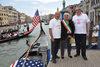 11.09.2015 - Una gondola con bandiera americana a Ca' Farsetti per ricordare la strage delle torri gemelle
